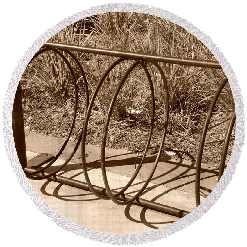 Bicycle Round Beach Towel featuring the photograph Bike Rack by Rob Hans