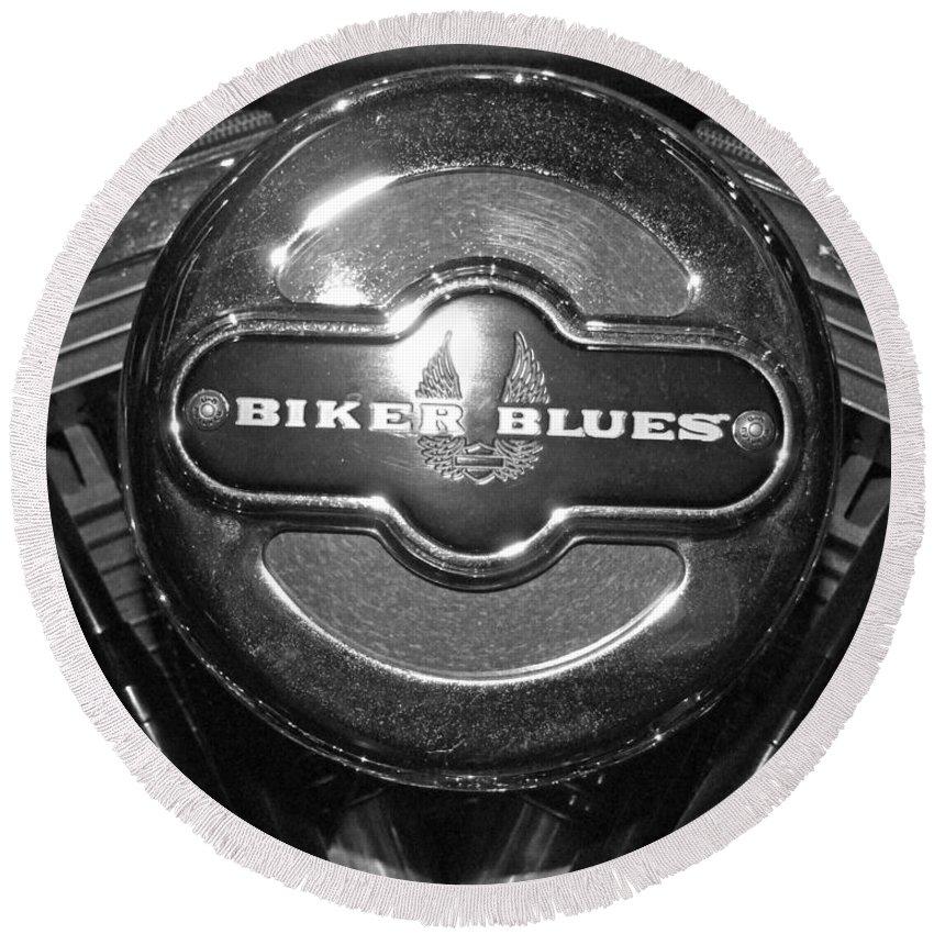 Biker Blues Round Beach Towel featuring the photograph Biker Blues by Michiale Schneider