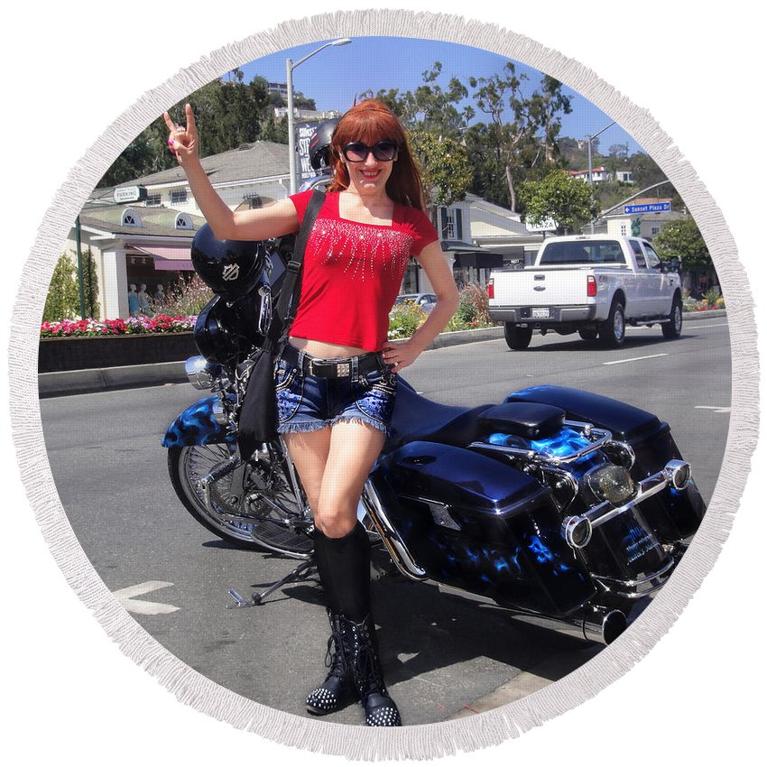 Biker Round Beach Towel featuring the photograph Biker Girl. Model Sofia Metal Queen by Sofia Metal Queen