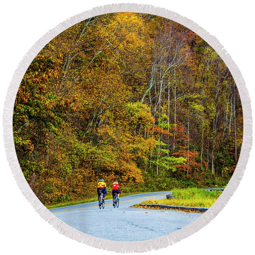 Autumn Leaves Round Beach Towel featuring the photograph Biking On The Parkway by Roberta Bragan