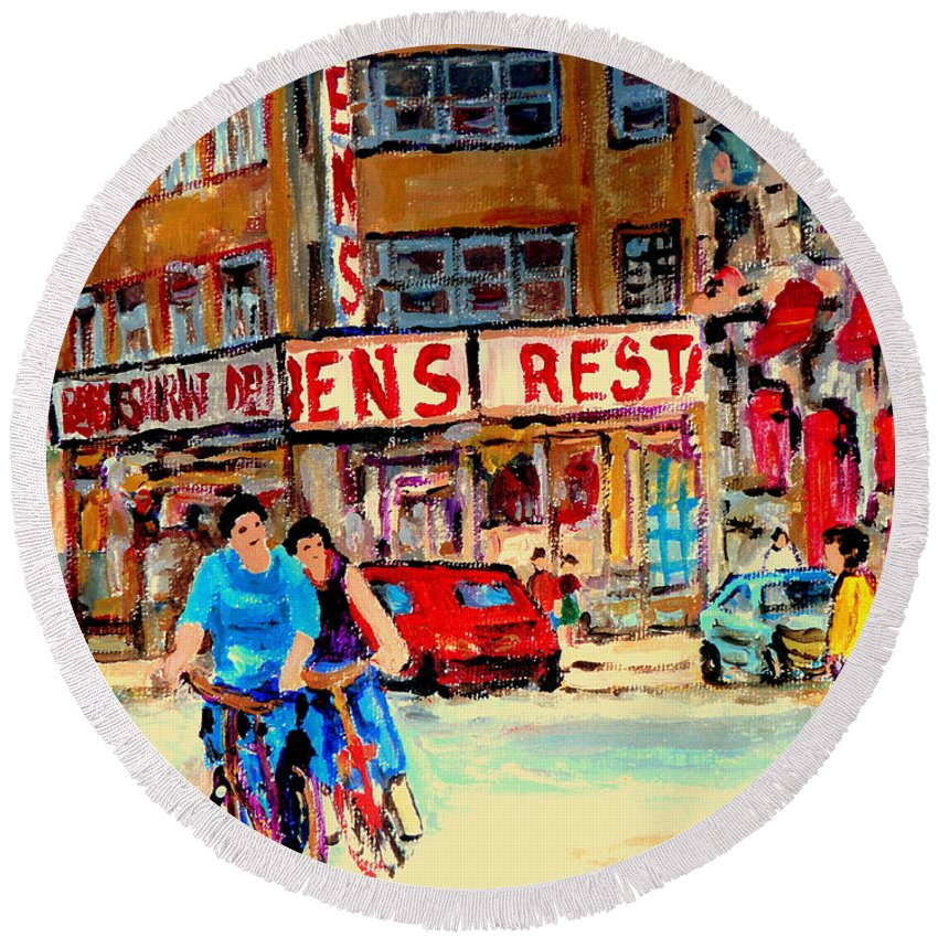 Montreal Round Beach Towel featuring the painting Biking Past Ben by Carole Spandau