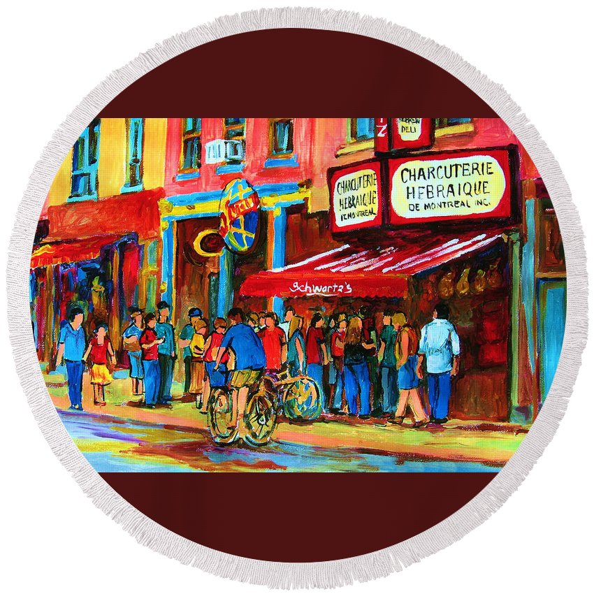 Schwartzs Smoked Meat Deli Round Beach Towel featuring the painting Biking Past The Deli by Carole Spandau
