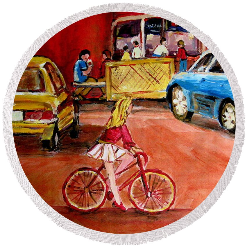 Orange Julep Round Beach Towel featuring the painting Biking To The Orange Julep by Carole Spandau