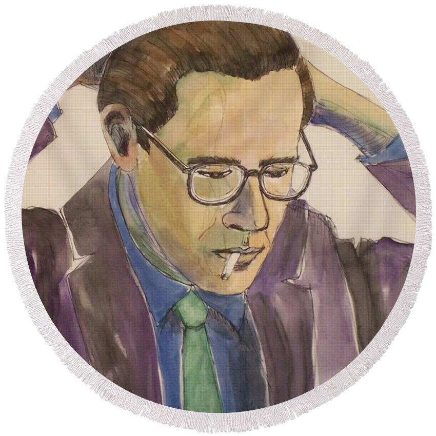 Bill Evans Round Beach Towel featuring the mixed media Bill Evans by Anita Burgermeister