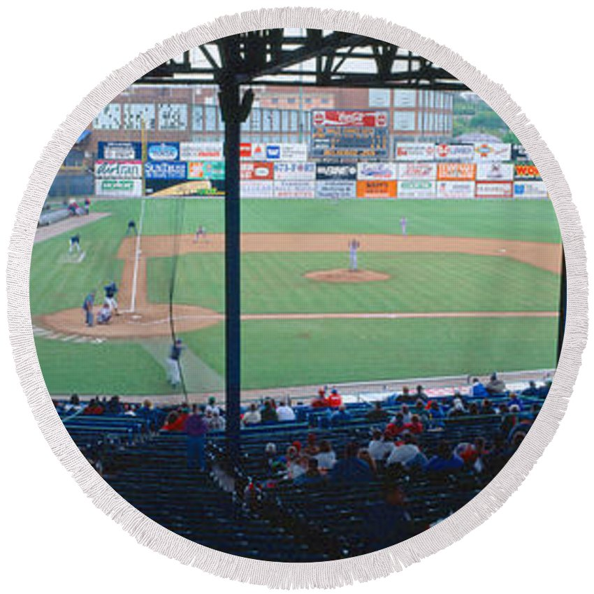 Photography Round Beach Towel featuring the photograph Bill Meyer Stadium, Aa Southern League by Panoramic Images