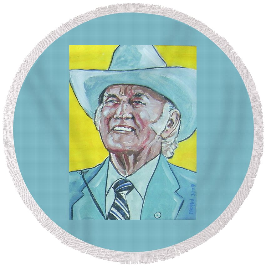 Bill Monroe Round Beach Towel featuring the painting Bill Monroe by Bryan Bustard