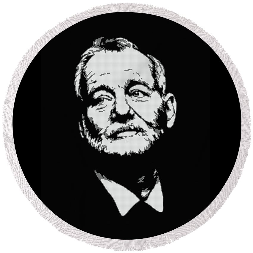 Bill Murray Round Beach Towel featuring the painting Bill Murray by Ian King
