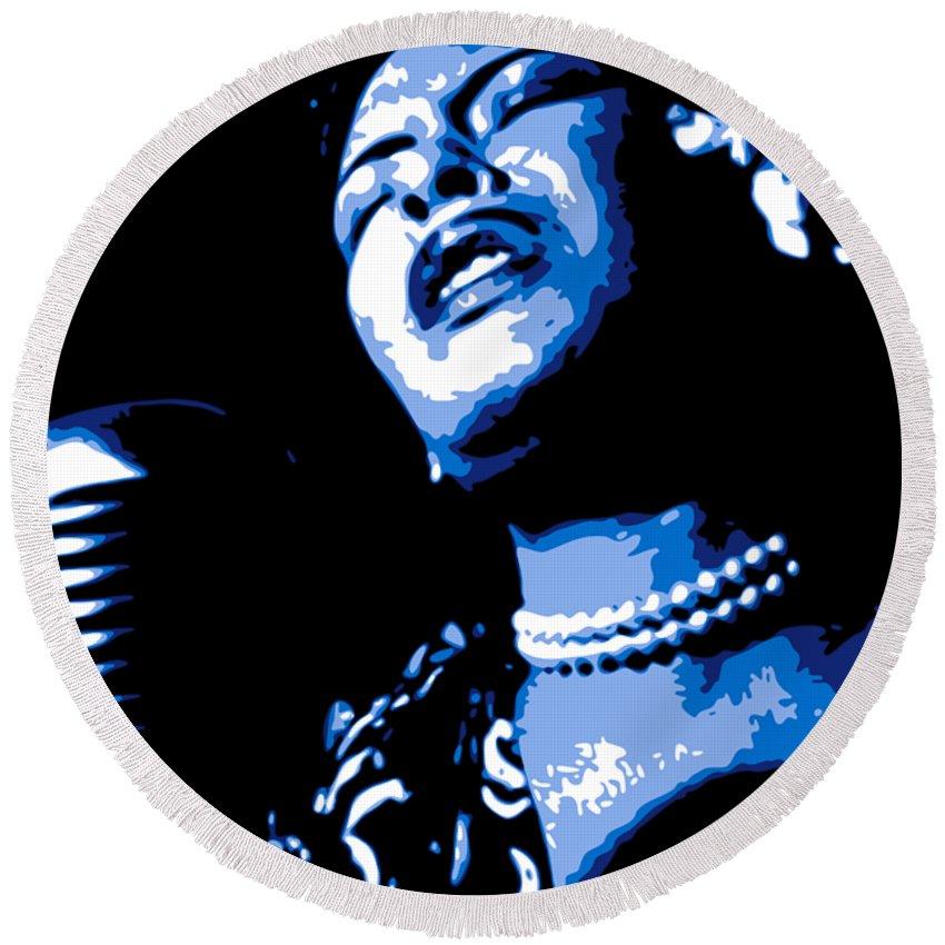 Billie Holiday Round Beach Towel featuring the digital art Billie Holiday by DB Artist
