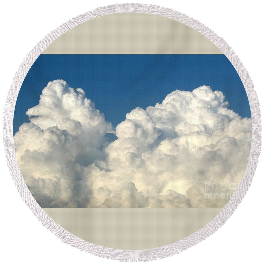 Clouds Round Beach Towel featuring the photograph Billowing Clouds 1 by Rose Santuci-Sofranko