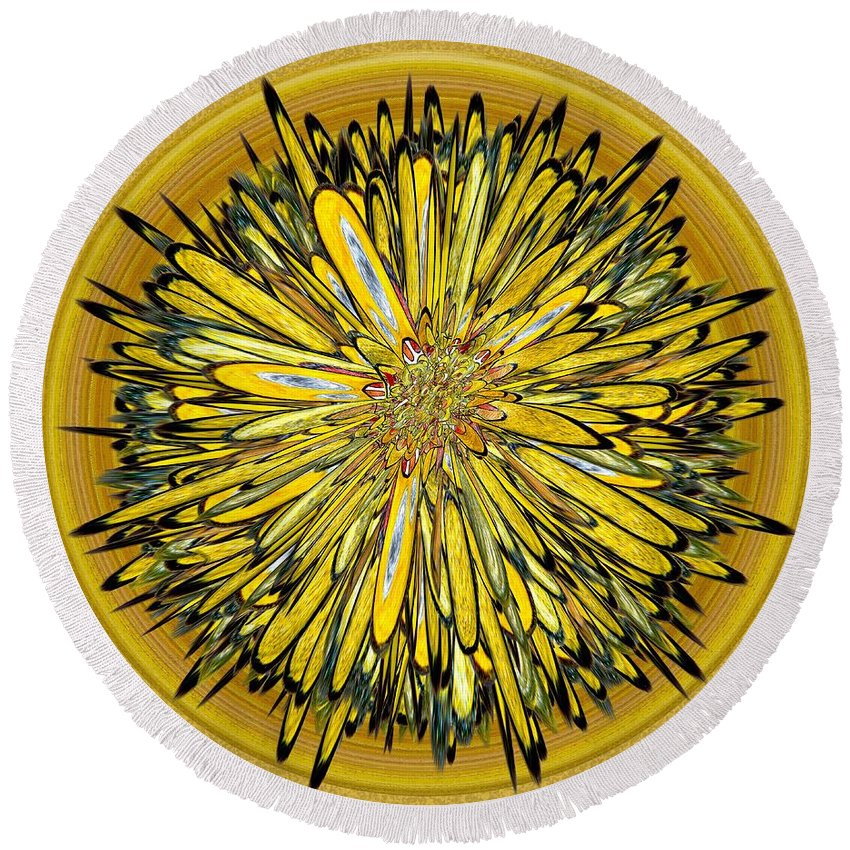 Abstract Round Beach Towel featuring the digital art Billy Jean -- Floral Disk by Mark Sellers