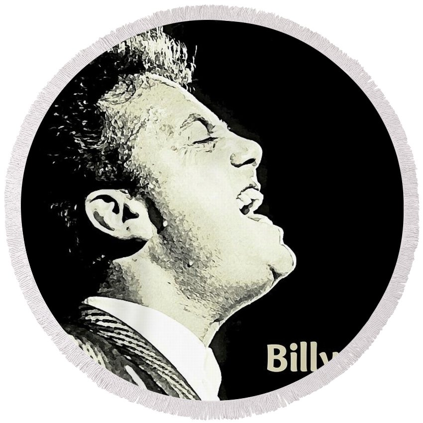 Billy Joel Poster Round Beach Towel featuring the painting Billy Joel Poster by John Malone