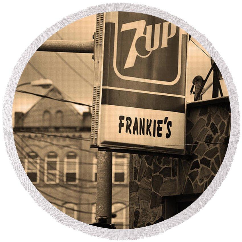 7up Round Beach Towel featuring the photograph Binghampton New York - Frankie's Tavern by Frank Romeo