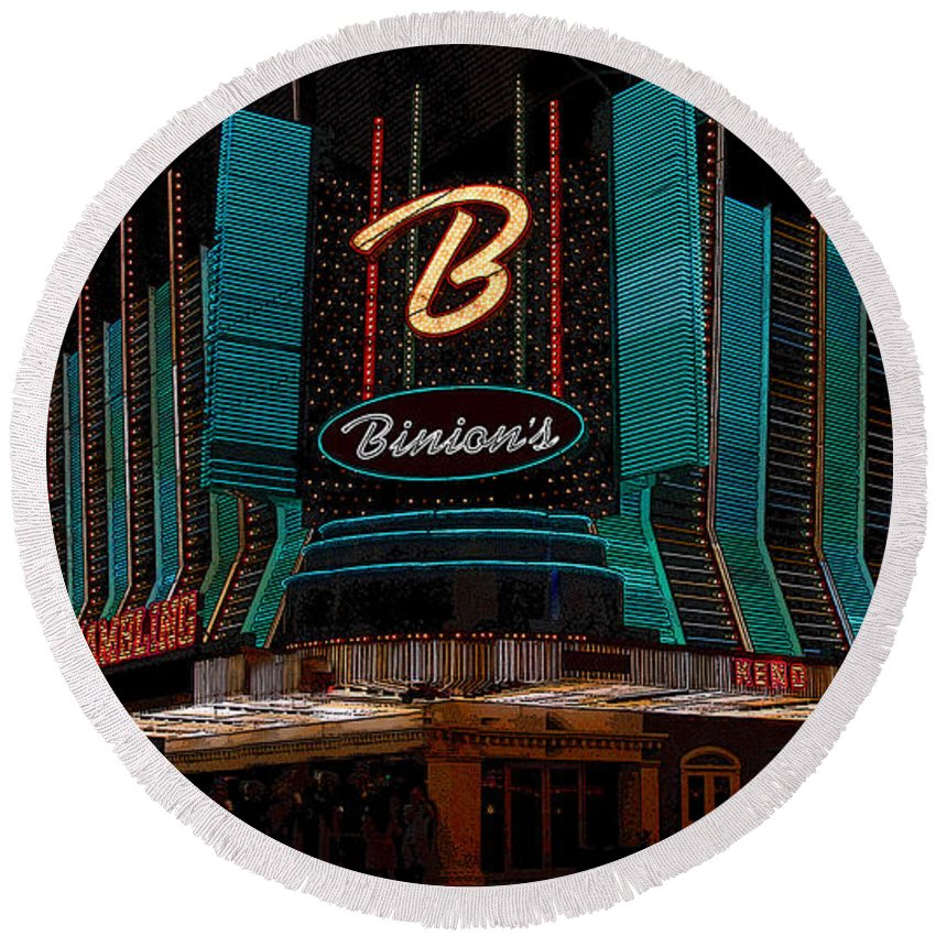 Art Round Beach Towel featuring the painting Binions Vegas by David Lee Thompson
