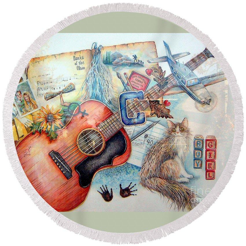 Guitar Round Beach Towel featuring the mixed media Bio Bits by Linda Shackelford