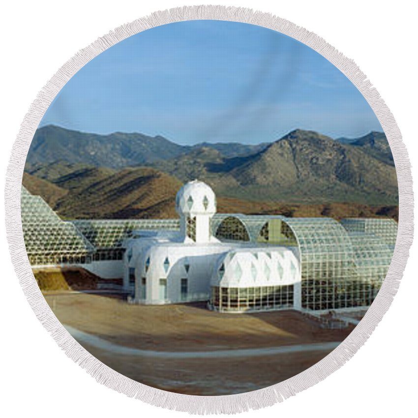 Photography Round Beach Towel featuring the photograph Biosphere 2, Arizona by Panoramic Images
