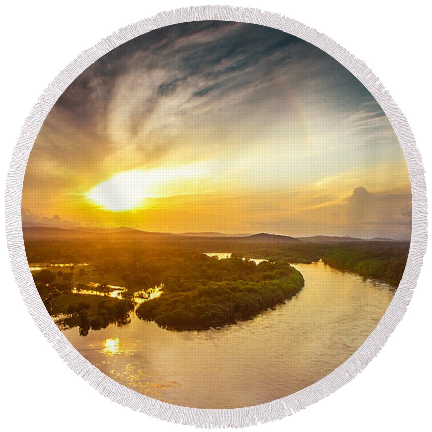 River Round Beach Towel featuring the photograph Bira River At Sunset. by Evgeniy Belyaev