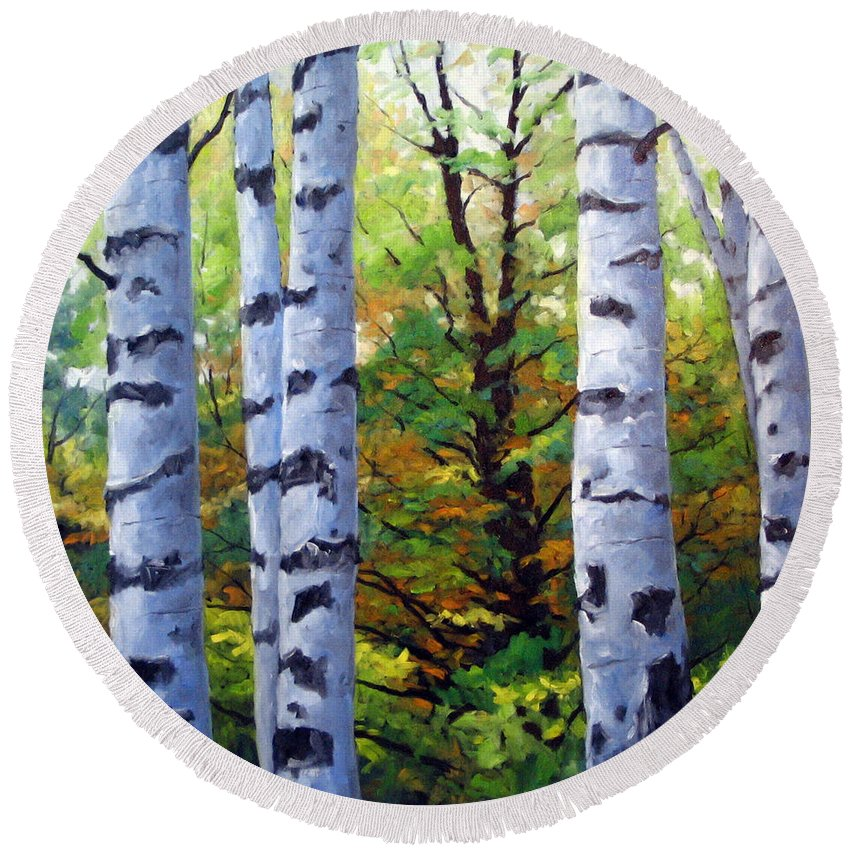 Art Round Beach Towel featuring the painting Birch Buddies by Richard T Pranke