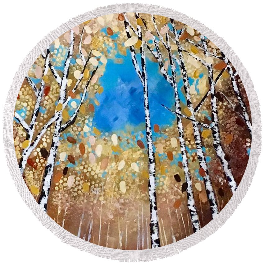 Birch Round Beach Towel featuring the painting Birch Forest by Monica Pope