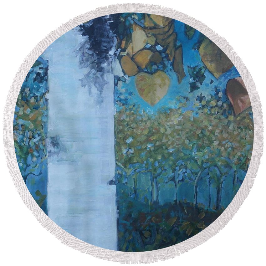 Birch Round Beach Towel featuring the painting bIrCh LanE by Cindy Collins