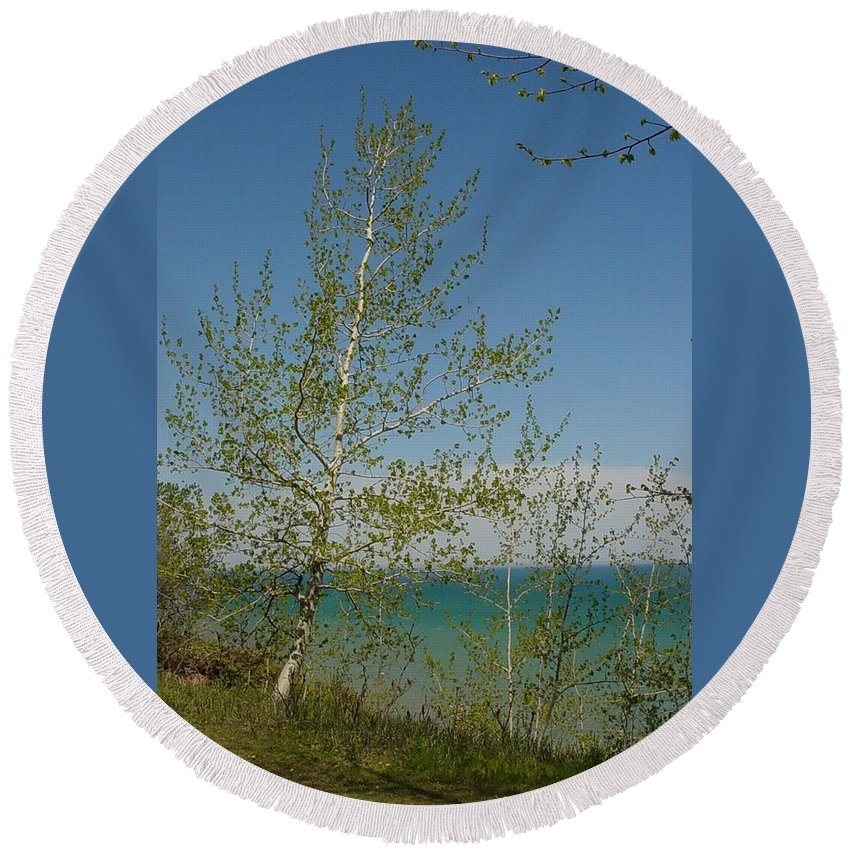 Birch Tree Round Beach Towel featuring the photograph Birch Tree Over Lake by Anita Burgermeister