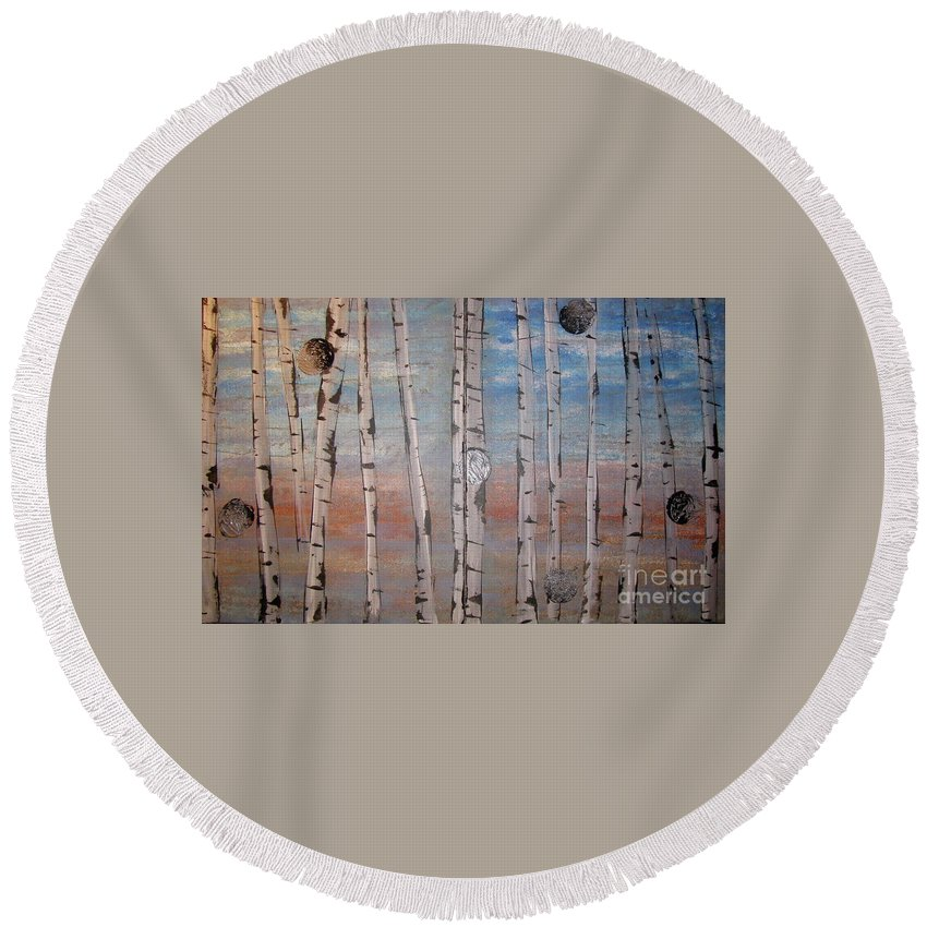 Land Round Beach Towel featuring the painting Birch Trees - Clouds by Jacqueline Athmann