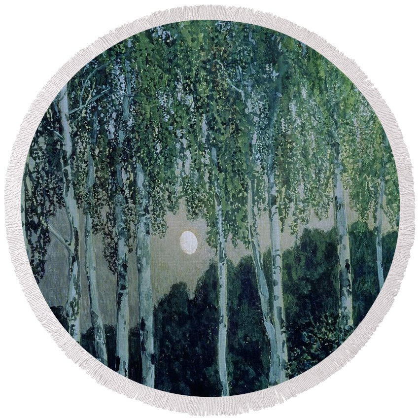 Birch Trees (oil On Canvas) By Aleksandr Jakovlevic Golovin (1863-1930) Round Beach Towel featuring the painting Birch Trees by Aleksandr Jakovlevic Golovin