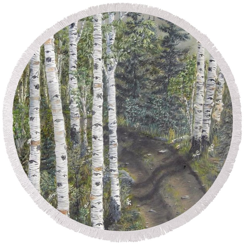 Landscape Round Beach Towel featuring the painting Birch Trees Along Kennys Road 2 by J O Huppler