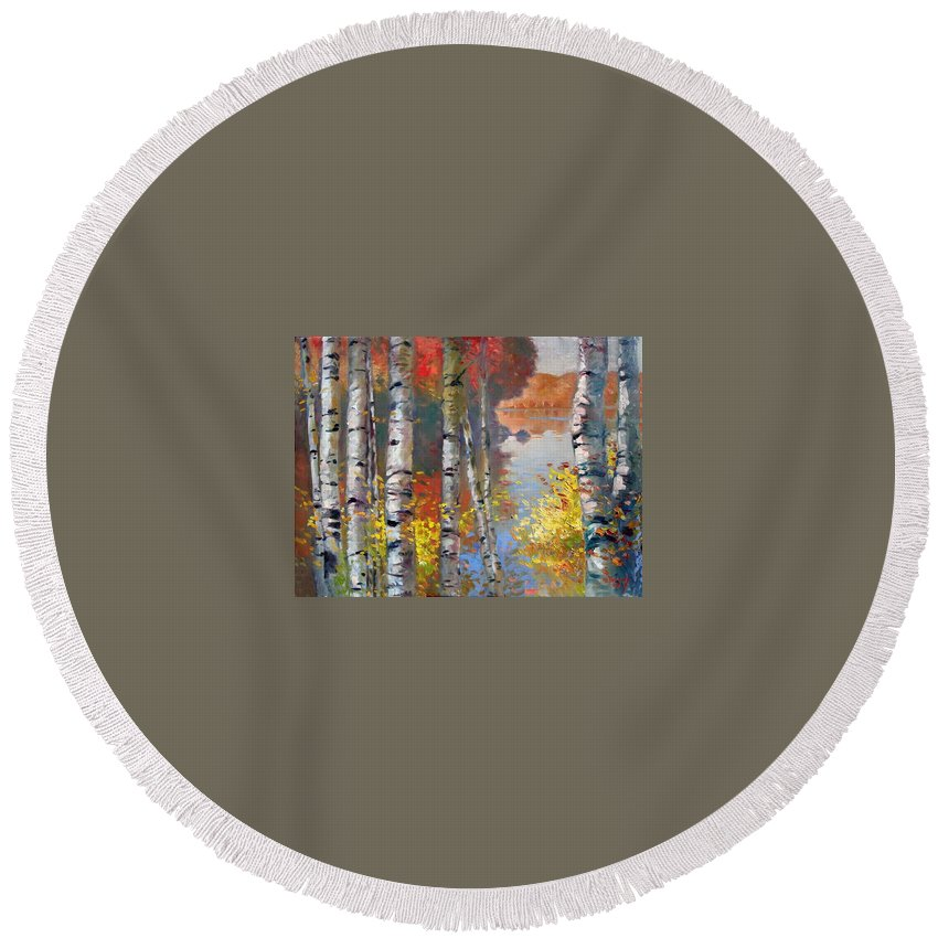 Landscape Round Beach Towel featuring the painting Birch Trees By The Lake by Ylli Haruni