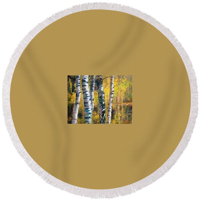 Landscape Round Beach Towel featuring the painting Birch Trees In Golden Fall by Ylli Haruni