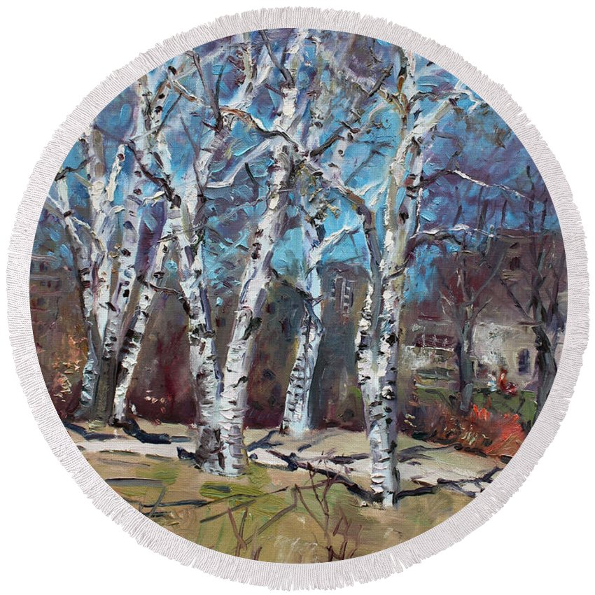 Landscape Round Beach Towel featuring the painting Birch Trees Next Door by Ylli Haruni