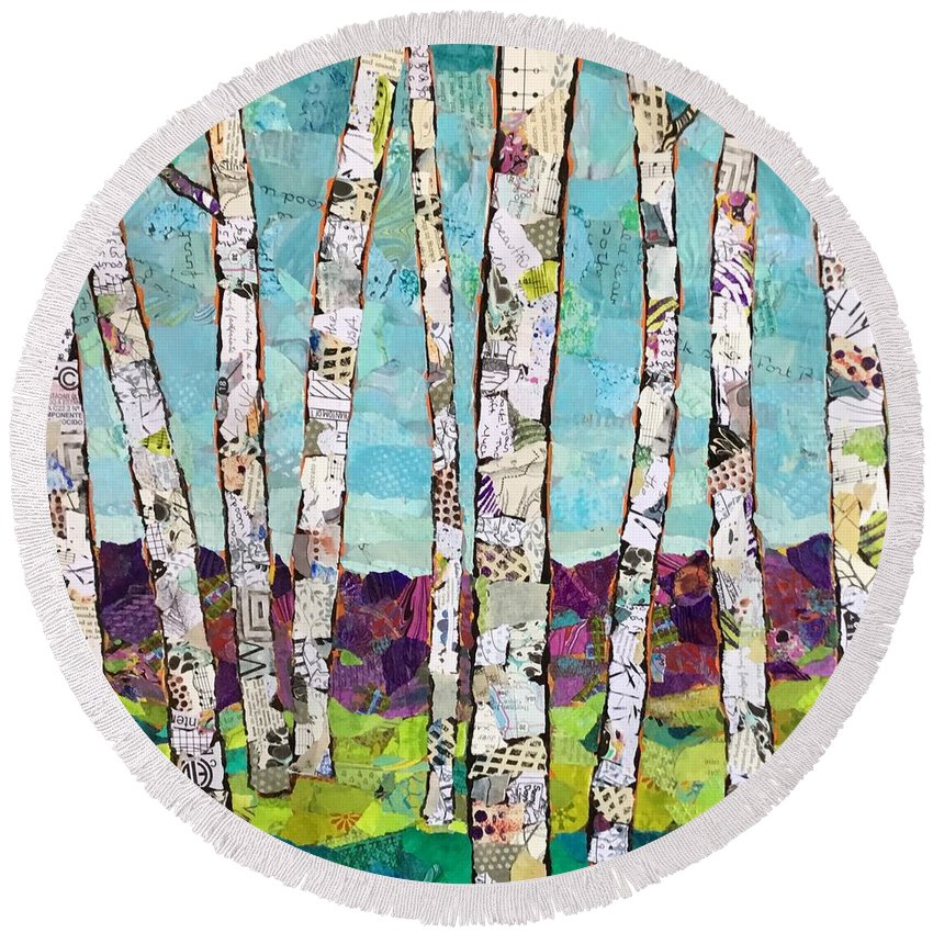 Birch Round Beach Towel featuring the painting Birch Trees by Phiddy Webb