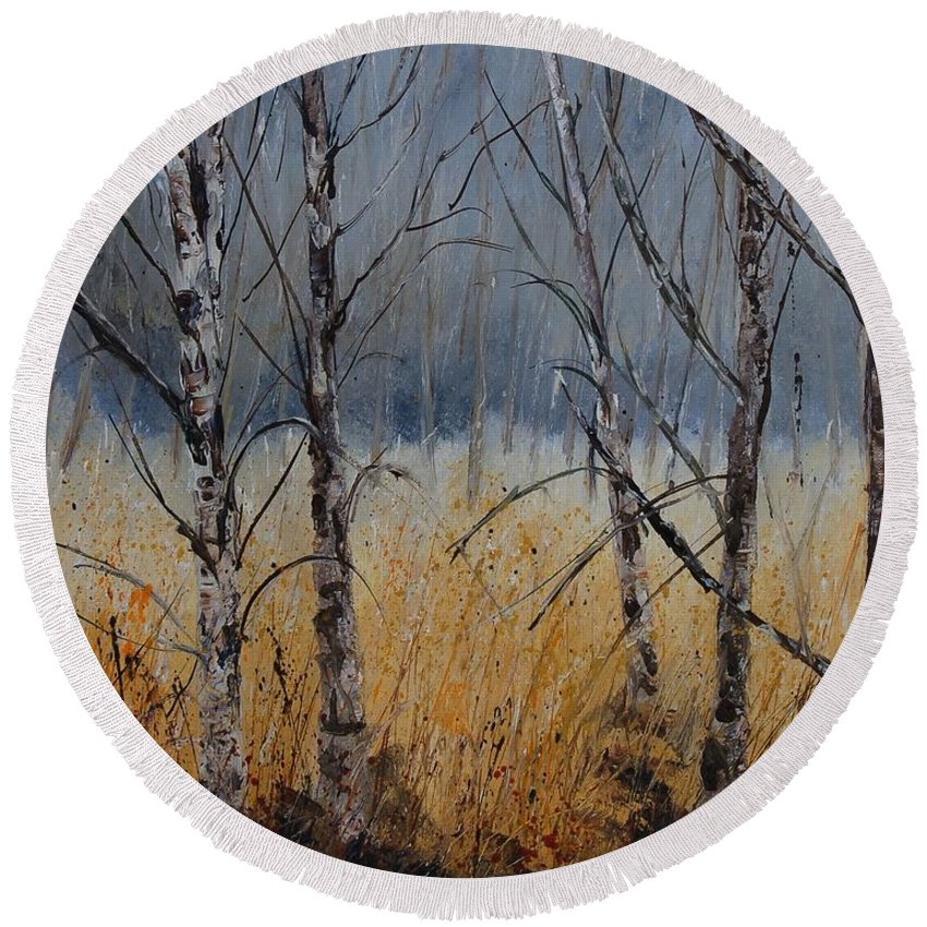 Winter Round Beach Towel featuring the painting Birch Trees by Pol Ledent