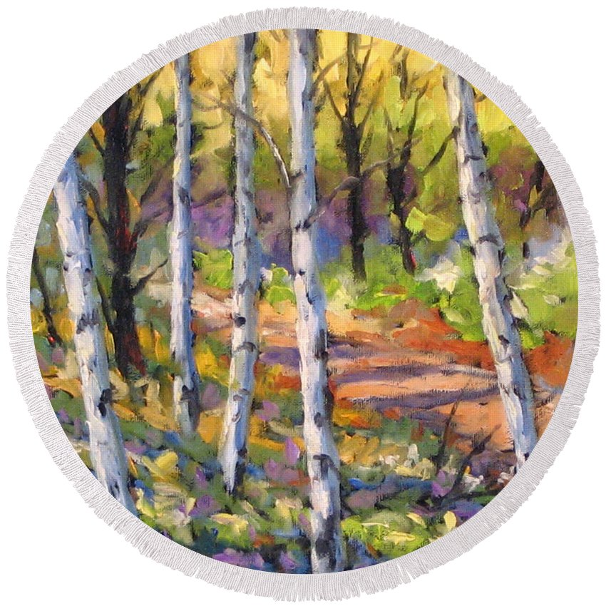 Art Round Beach Towel featuring the painting Birches 02 by Richard T Pranke