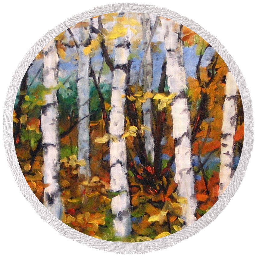 Art Round Beach Towel featuring the painting Birches 03 by Richard T Pranke