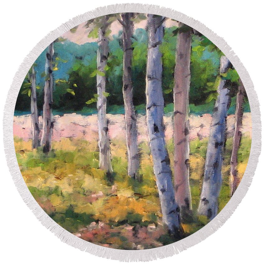 Art Round Beach Towel featuring the painting Birches 04 by Richard T Pranke