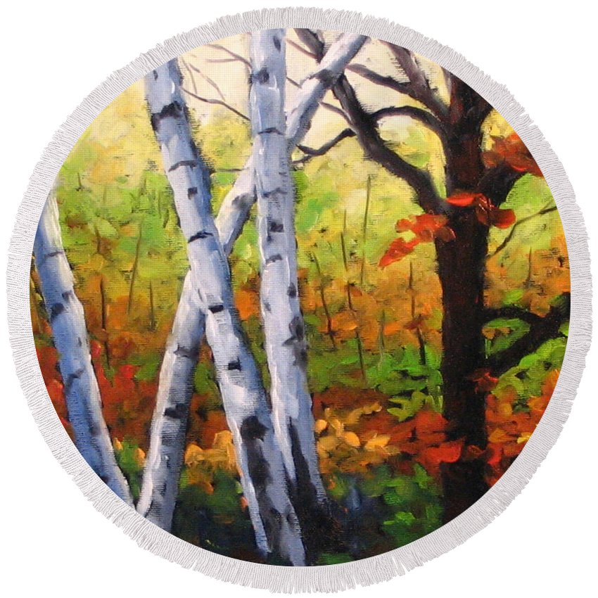 Art Round Beach Towel featuring the painting Birches 05 by Richard T Pranke