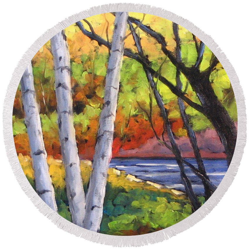 Art Round Beach Towel featuring the painting Birches 06 by Richard T Pranke