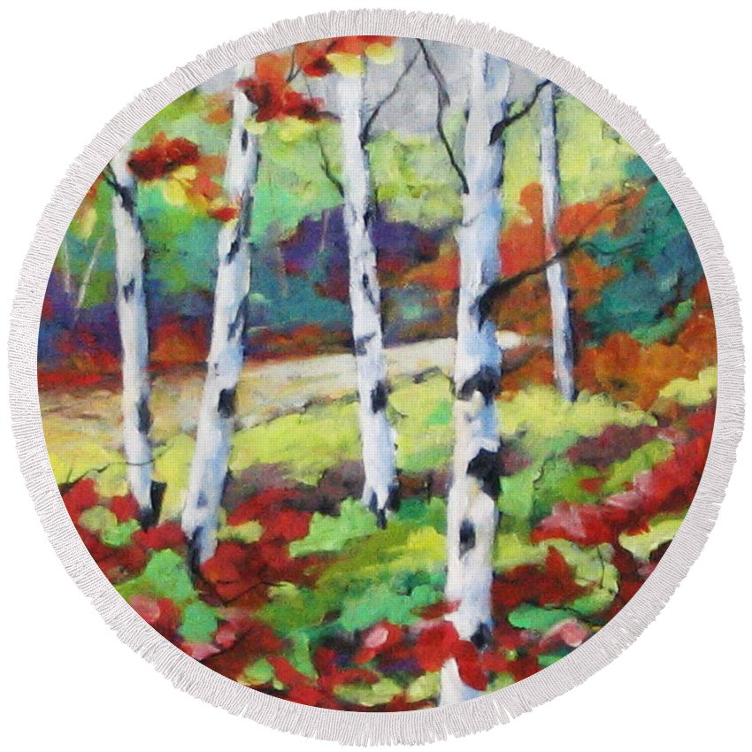 Art Round Beach Towel featuring the painting Birches 07 by Richard T Pranke