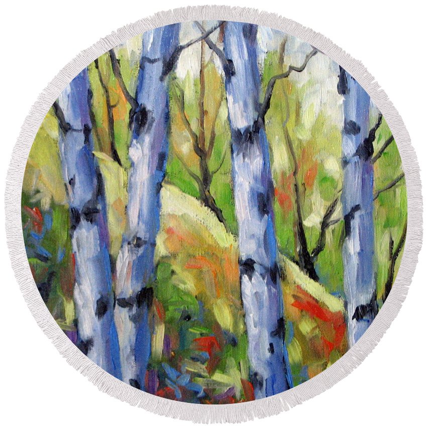 Art Round Beach Towel featuring the painting Birches 09 by Richard T Pranke