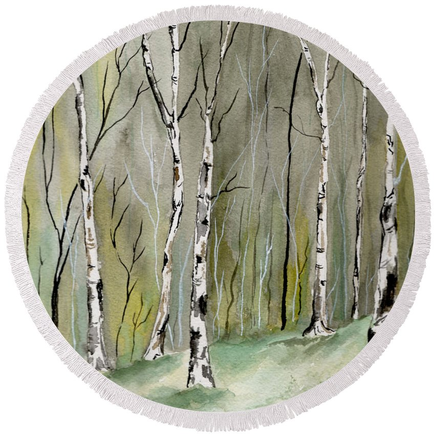 Landscape Round Beach Towel featuring the painting Birches Before Spring by Brenda Owen