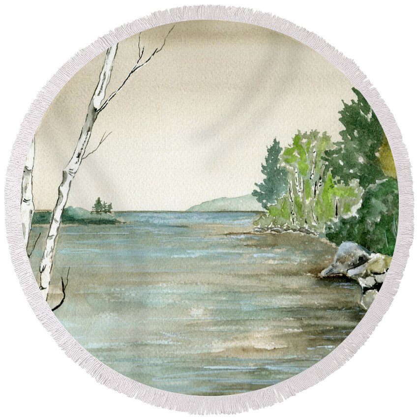 Landscape Watercolor Birches Trees Lake Pond Water Sky Rocks Round Beach Towel featuring the painting Birches By The Lake by Brenda Owen