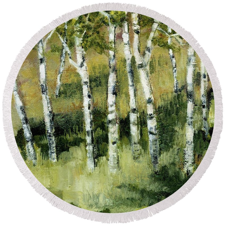 Trees Round Beach Towel featuring the painting Birches On A Hill by Michelle Calkins