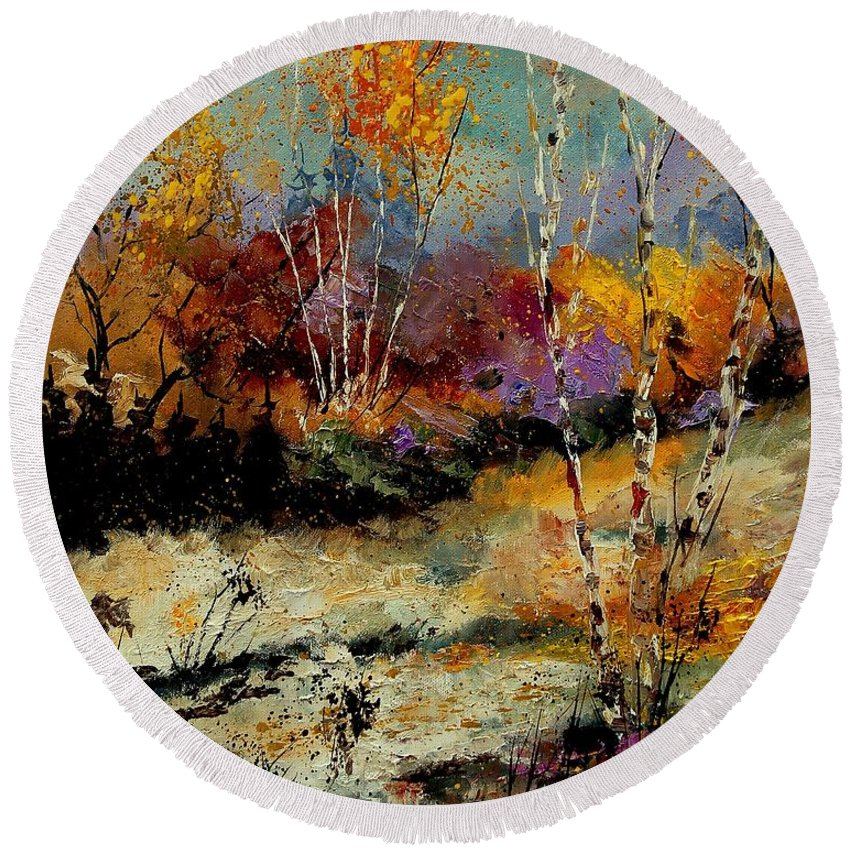 Tree Round Beach Towel featuring the painting Birchtrees 459090 by Pol Ledent