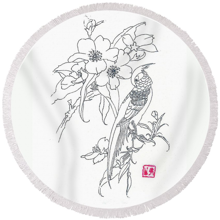 Bird Round Beach Towel featuring the drawing Bird And Flowers by Michael Vigliotti
