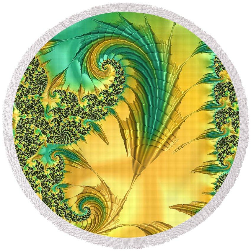 Exotic Bird Round Beach Towel featuring the digital art Bird Exotica by Susan Maxwell Schmidt