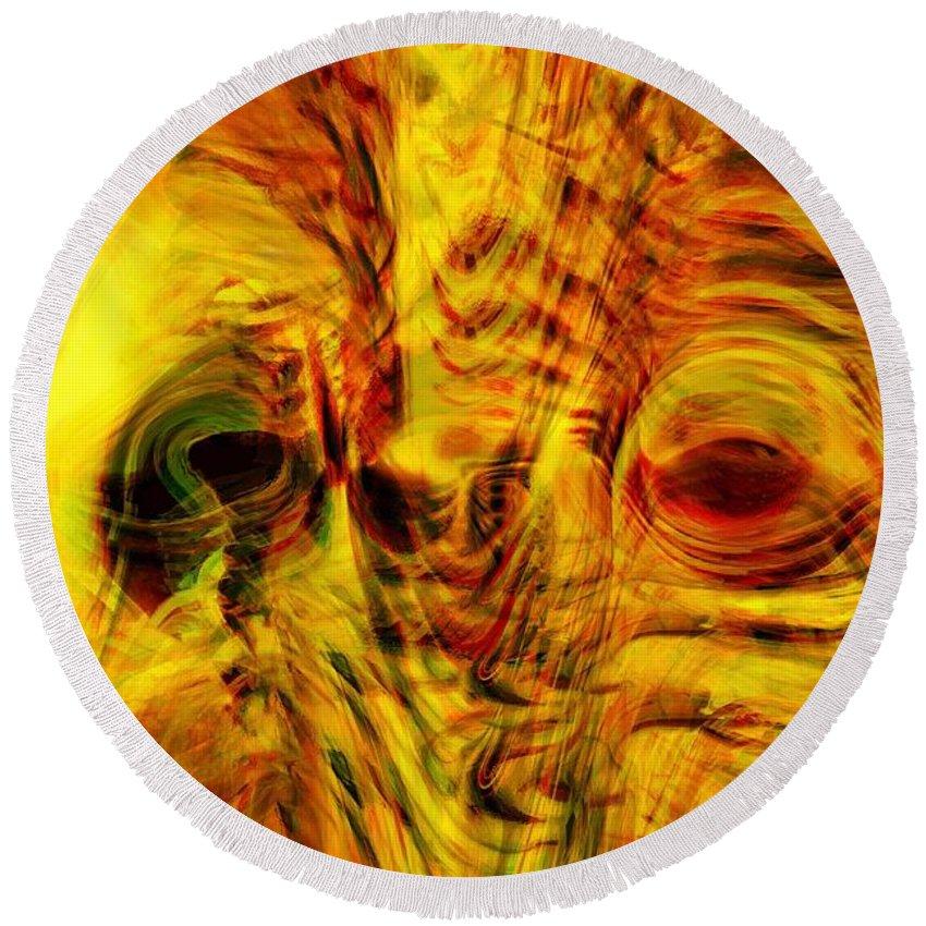 Abstract Art Round Beach Towel featuring the digital art Bird Face by Linda Sannuti