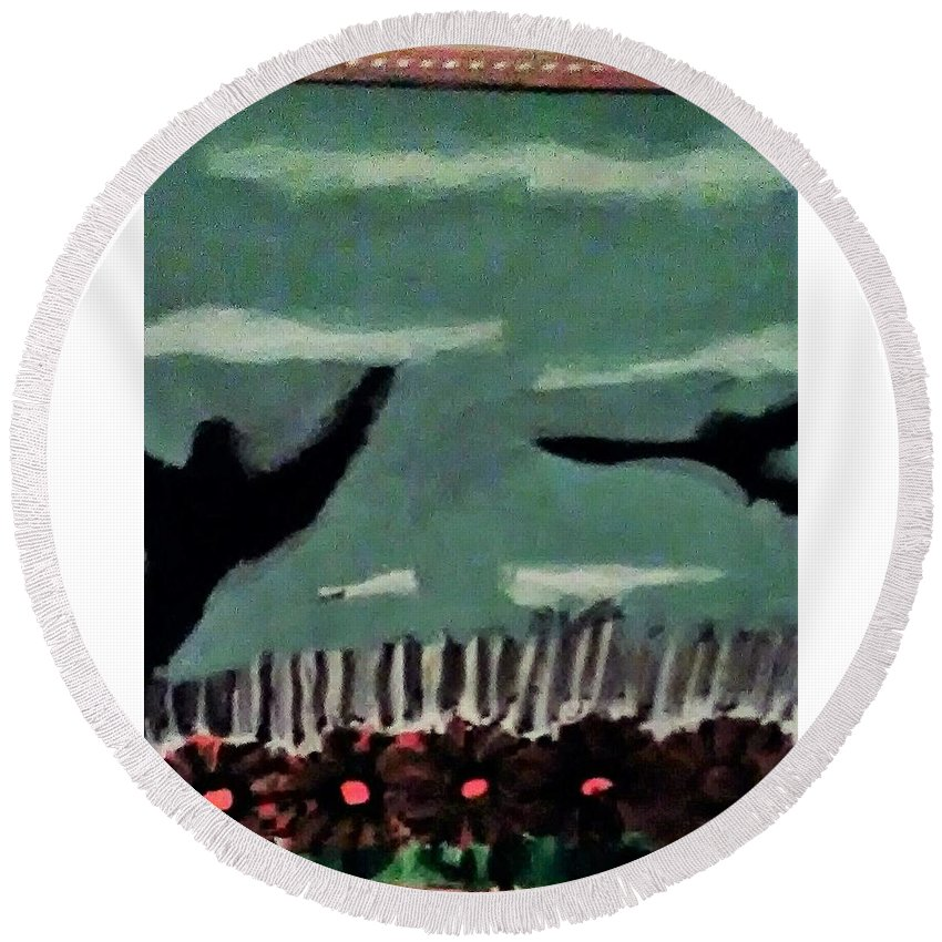 Round Beach Towel featuring the painting Bird Flock by Keisha Manley