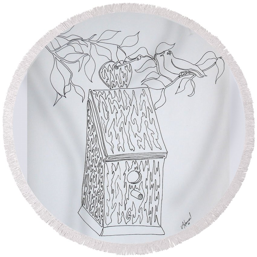 One Line Drawing Round Beach Towel featuring the drawing Bird In A Line by Vicki Housel