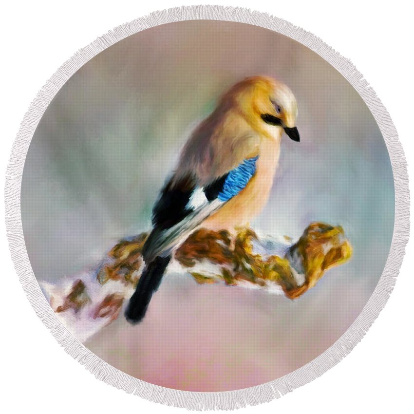 Bird Round Beach Towel featuring the painting Bird by Johanne Dauphinais