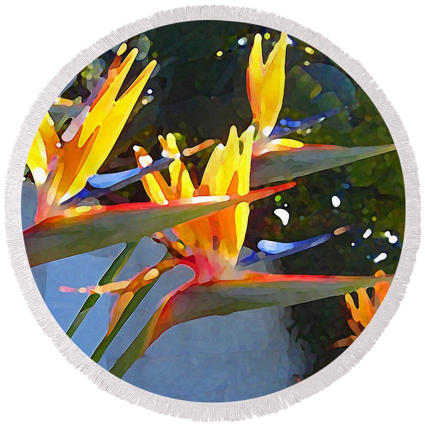 Abstract Round Beach Towel featuring the painting Bird Of Paradise Backlit By Sun by Amy Vangsgard